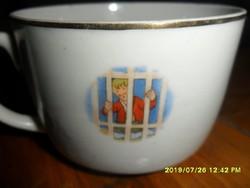 Antik  Ritka! Zsolnay mese jelenetes hófehérkés csésze