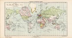 A gyarmatok és a világforgalom, térkép, kiadva 1913, Kogutowicz, atlasz, világtérkép, Világ, Föld