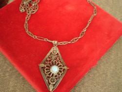 Antik Ezüstözött   nyaklánc Türkiz kővel