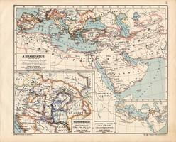 A Khalifatus 945, kiadva 1913, eredeti, atlasz, történelmi, Magyarország a honfoglalás végén, térkép