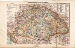 Nagy - Magyarország politikai térkép 1913 (2), eredeti, atlasz, Kogutowicz Manó, vármegye, megye