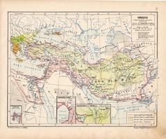 Oriens térkép (2), kiadva 1913, eredeti, atlasz, történelmi, Kogutowicz Manó, Ázsia, perzsa, asszír