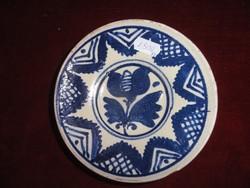 Korondi kerámia, mini falitányér, kék tulipános mintával, átmérője 14 cm.
