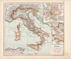 Itália térkép (2), kiadva 1913, Roma Vetus, eredeti, atlasz, történelmi, Kogutowicz Manó, történelmi