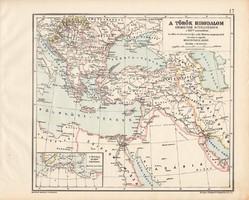 A török birodalom térkép, XVII. század, kiadva 1913, eredeti, Kogutowicz Manó, történelmi, legnagyob
