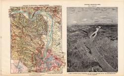 Budapest és környéke térkép 1913, atlasz, Kogutowicz Manó, Budapest madártávlatból, Pest, megye