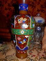 23 cm antik Cloissoné   zománc, rekesz  zománc váza