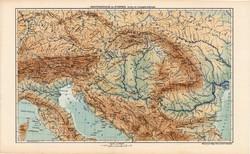 Osztrák - Magyar Monarchia hegy- és vízrajzi térkép 1913 (2), eredeti, atlasz, Kogutowicz Manó, régi