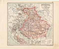 Magyarország Nagy Lajos király korában, térkép, kiadva 1913, történelmi, 1342 - 1382, Kogutowicz