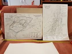 Két Jeruzsálem történelmi térkèp, kis példányszámban nyomtatva