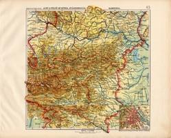 Ausztria térkép 1913, eredeti, atlasz, Kogutowicz, alsó, felső, Karinthia, Stájerország, magyar