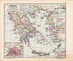 Graecia térkép (2), Görögország, kiadva 1913, eredeti, atlasz, történelmi, Kogutowicz Manó, Athen