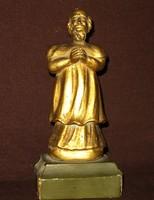XVIII.századi aranyozott fa szerzetes szobor.