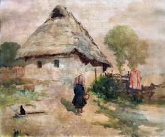 """Neogrády Antal ( 1861-1942 ) """" Falusi udvar """""""