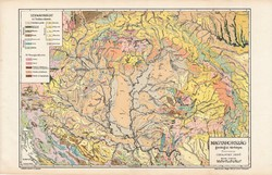 Nagy - Magyarország geológiai térkép 1913,  atlasz, eredeti, Kogutowicz Manó, Cholnoky Jenő, kőzet