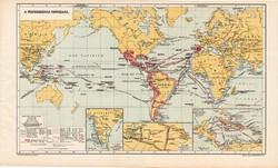A felfedezések kora (2), kiadva 1913, eredeti, atlasz, Kogutowicz, térkép, világtérkép, Columbus