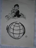 Szepes Béla 4 DB TOTÓ-reklám karikatúra tus 15x21.5 cm 2000 Ft/db
