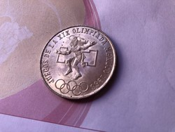 1968 mexikói ezüst 25 peso 22,5 gramm 0,720