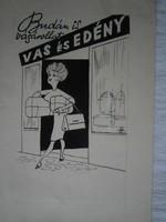 HAUSWIRTH MAGDA Vas- és edény reklám karikatúra a Füles újságba 16x22 cm