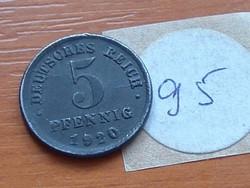 NÉMET BIRODALOM 5 PFENNIG 1920 J VAS 95.