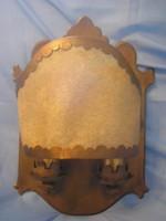 40 x32 cm  2 égős,marhabőr díszes egyedi  lámpa ritkaság