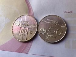 50 éves a nemzeti bank 50+100 Ft ezüst 16+22 gramm