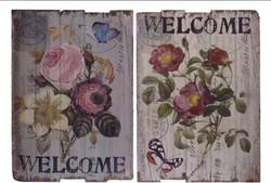 Virágos vintage fatábla
