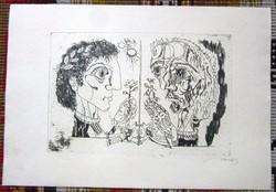 Hincz Gyula/1904-1986/ rézkarc.  Az idő múlása. 43,2 x 29,8, 29,5 x 20 cm.