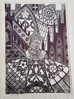 Tavaszy Noémi: Krakkói ablakok, szignós litó, 1976