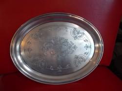 antik díszes fém tálca kínáló 24,5cm