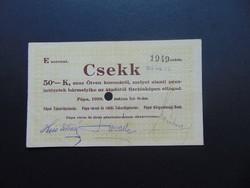 Pápa 50 korona 1919 csekk