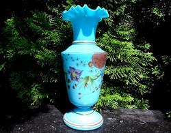 Fúvott, szakított, kézzel festett üveg váza1880-as évek