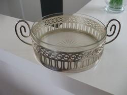 Áttört ezüstözött üvegbetétes asztalközép kínáló