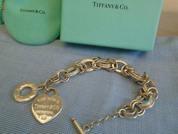 Luxus Tiffany & Co Sterling Silver Bracelet With Heart Charm And Toggle,  Long