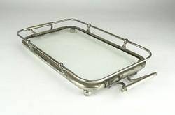 0X667 Antik üvegbetétes fém kínáló tálca 26 cm