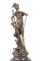 Győzedelmes Diana bronzszobor-vadászat ,állatok istennője