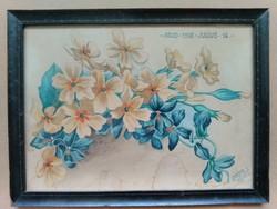 Virág akvarell Major S. jelzéssel 1908