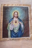 Jézus szent szíve antik tűgobelin alap