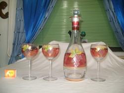 Retro, festett szőlő mintás boros készlet három talpas pohárral