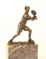 Tenisz-teniszező férfi bronzszobor