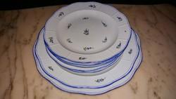 Herendi XIX.sz. antik kék nefelejcs mintás vacsorázó készlet 8 db