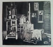 Műterem - linómetszet (1960-as évek)
