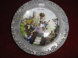 SELTMANN WELDEN Bavaria német porcelán falitányér, cin széllel, mely 94 %-os.