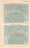 Északi és déli csillagos ég, térkép 1909, eredeti, atlasz, csillagászat, német, csillagkép, égbolt