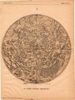 Az északi csillagos égbolt 1885, Magyar Lexikon, Rautmann Frigyes, csillagászat, térkép, csillag, ég