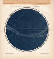 Az északi csillagos ég térkép, litográfia 1895, német, színes nyomat, csillagászat, csillag, égbolt