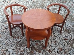 Felújítandó, art deco teázó / kávézó / kerti garnitúra (kerek asztal + 2 db támlás, sarokszék) eladó