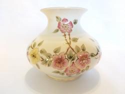Zsolnay Rózsaszínű Virágos széles Váza. Hibátlan!