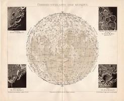 Holdtérkép, térkép 1895, eredeti, német, csillagászat, Hold, bolygó, felszín, kráter, elnevezések