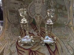 Porcelán betétes régi gyertyatartó pár